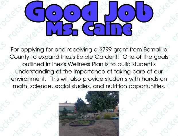Good Job Ms. Caine
